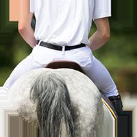 Reiter auf weißgrauem Pferd von hinten fotografiert